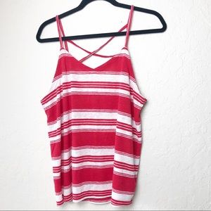 A New Day Red & White Strappy Tank EUC SZ Large